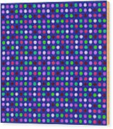 Colorful Polka Dots On Blue Fabric Background Wood Print