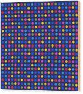 Colorful Polka Dots On Dark Blue Fabric Background Wood Print