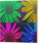 Colorful Pop Art Flowers Wood Print