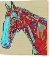 Colorful Race Horse Wood Print