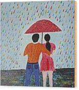 Colorful Rain Wood Print
