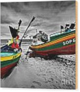 Colorful Retro Ship Boats On The Beach Wood Print