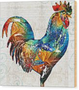 Colorful Rooster Art By Sharon Cummings Wood Print