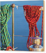 Colorful Rope Detail On Yacht Wood Print
