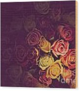 Colorful Roses Background Wood Print