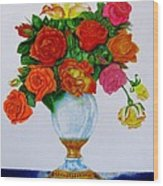 Colorful Roses Wood Print by Zina Stromberg