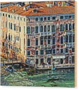 Colorful Rotten Palace In Venice Italy  Wood Print