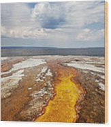 Colorful Runoff From Black Pool Leads To Yellowstone Lake Wood Print