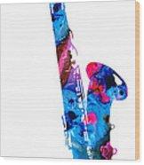 Colorful Saxophone 2 By Sharon Cummings Wood Print