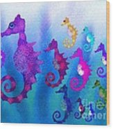 Colorful Sea Horses Wood Print