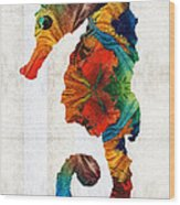 Colorful Seahorse Art By Sharon Cummings Wood Print