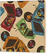 Colorful Seamless Pattern Of Gramophones Wood Print