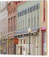 Colorful Shops Quaint Street Scene Wood Print by Ann Powell