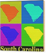 Colorful South Carolina Pop Art Map Wood Print