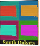Colorful South Dakota Pop Art Map Wood Print