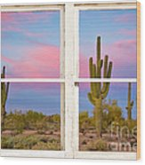 Colorful Southwest Desert Window Art View Wood Print