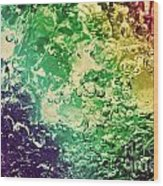 Colorful Splashing Pouring Water With Bubbles Wood Print