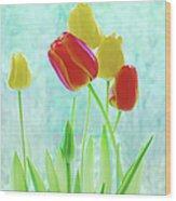 Colorful Spring Tulip Flowers Wood Print