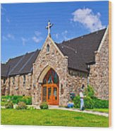 Colorful Stone Catholic Church In North Bay Of Lake Nipissing-on Wood Print