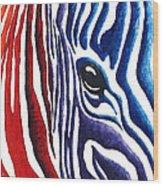 Colorful Stripes Original Zebra Painting By Madart Wood Print