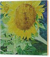 Colorful Sunflowers Watercolor Original Sunflower Art Wood Print