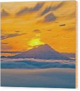 Colorful Sunset Behind Mt. Redoubt And Wood Print