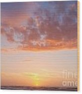 Colorful Sunset Cloudscape Over Beach And Ocean Wood Print