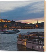Colorful Sunset In Budapest With A Panoramic View Of The River D Wood Print