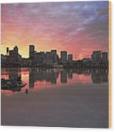 Colorful Sunset Over Portland Downtown Waterfront Wood Print