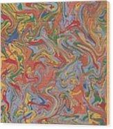 Colorful Swirls Drip Painting Wood Print