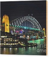 Colorful Sydney Harbour Bridge By Night 3 Wood Print