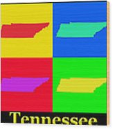 Colorful Tennessee Pop Art Map Wood Print