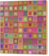 Colorful Textured Squares Wood Print