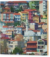Colorful Town Wood Print
