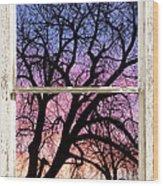 Colorful Tree White Farm House Window Portrait View Wood Print
