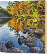 Colorful Trees Along The Swift River Wood Print