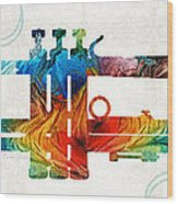Colorful Trumpet Art Color Fusion By Sharon Cummings Wood Print