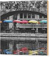 Colorful Umbrellas Reflected In Riverwalk Under Foot Bridge San Antonio Texas Color Splash Digital Wood Print