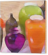 Colorful Vases I - Still Life Wood Print