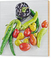 Colorful Veggies On White Wood Print