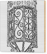 Colorful Vibrant Red Green Gothic Sconce Light Black And White Stamp Digital Art Wood Print