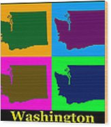 Colorful Washington State Pop Art Map Wood Print