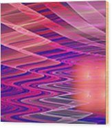 Colorful Waves Abstract Fractal Art Wood Print