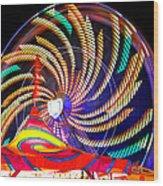 Colorful Wheel Of Lights Wood Print