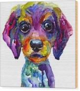 Colorful Whimsical Daschund Dog Puppy Art Wood Print