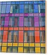 Colorful Windows On Modern Apartment Block Wood Print