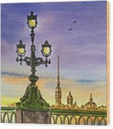 Colors Of Russia Bridge Light In Saint Petersburg Wood Print