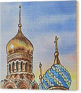 Colors Of Russia St Petersburg Cathedral Iv Wood Print by Irina Sztukowski