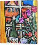 Colosi Wine With Flowers Wood Print by Chaline Ouellet