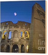 Colosseum And The Moon Wood Print
